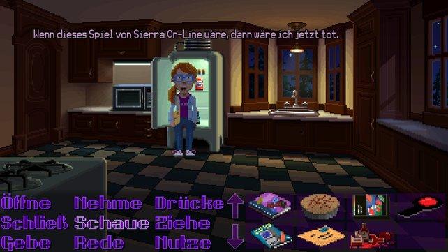 Auch wenn ihr gelegentlich bei einem Rätsel nicht weiterkommt: So frustrierend wie in den Adventures der auf dem Bild erwähnten Firma wird es nicht, da die Protagonisten niemals den virtuellen Tod erleiden.
