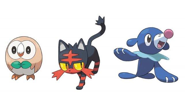 Das sind die drei Starter von Pokémon Sonne & Mond.