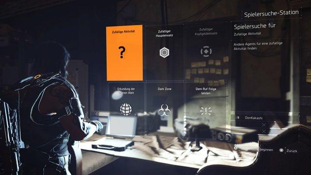 Über die Spielersuche-Station holt ihr euch Hilfe für Missionen oder Aktivitäten.