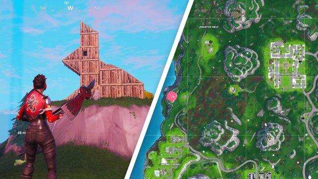 Links seht ihr, wo der Holzhase steht. Rechts haben wir den Fundort rosa markiert.
