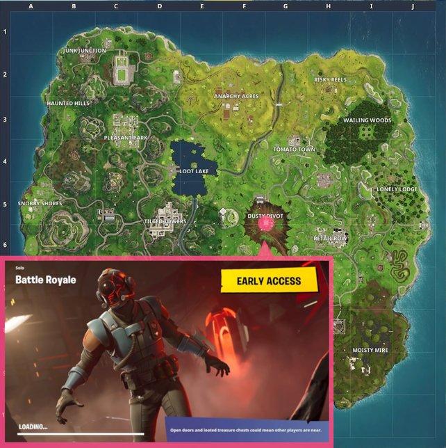 Blockbuster-Ladebildschirm aus Woche 7: Dieser Battle-Stern im Hintergrund ist wirklich nur sehr schwer zu erkennen. Begebt euch in das Zentrum von Dusty Divot.