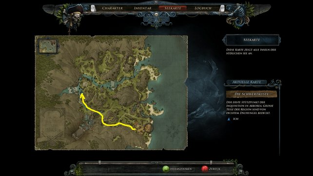 Auf der Karte seht ihr den Weg zum Späher.