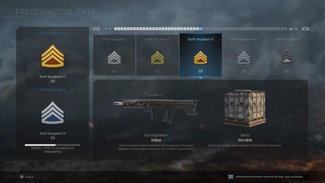 Das Levelsystem von Call of Duty: Modern Warfare wurde etwas angepasst.