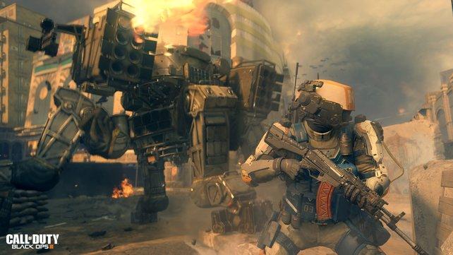 Euch erwarten Cyborgs und vierbeinige Kampfpanzer.