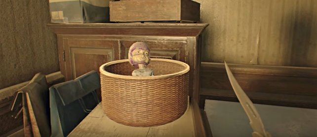 Versteckspiel in Resident Evil 7 - Biohazard: Da hockt Mr. Everywhere im Korb - wie kommt er da rein?