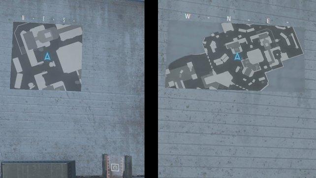 """Links die Standard-Radarsicht, rechts das erweiterte Radar mit der Fähigkeit """"Periph. Sichtfeld""""."""