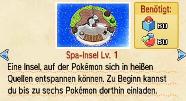 Auf der Spa-Insel könnt ihr die Zufriedenheit eurer Pokémon steigern.