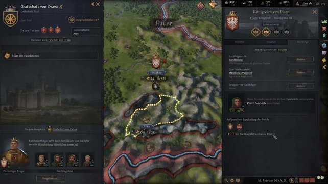 Für die Erschaffung von Titeln in Crusader Kings 3 benötigt ihr die DeJure-Grafschaften.