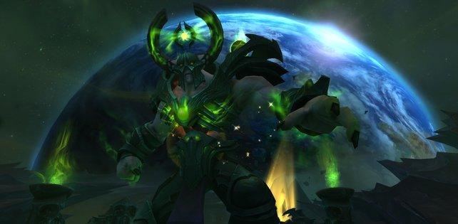 Einer von Argus' mächtigen Gegnern. Im Hintergrund seht ihr Azeroth.