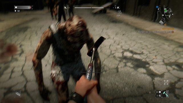 Unschärfeeffekte und Kamerabewegungen erschweren den Kampf gegen die Zombies.