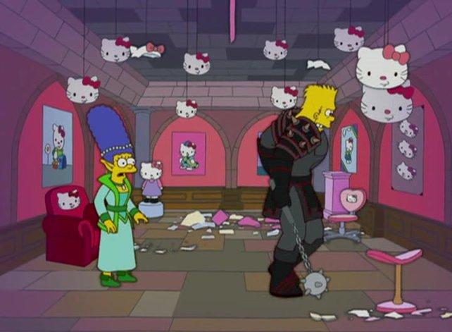 """In der Simpsons-Folge """"Marge Online"""" ist Bart gar nicht davon begeistert, dass seine Mutter auch """"Earthland Realms"""" zockt und sich einmischt."""