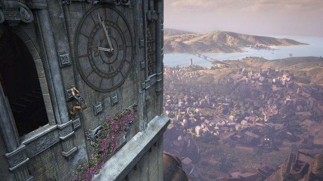 Seht ihr Nate links an dem Vorsprung hängen? Bei solchen Stellen zeigt Uncharted 4 sein ganzes Können. Die Kletterei im Glockenturm ist einer der Höhepunkte des Spiels.