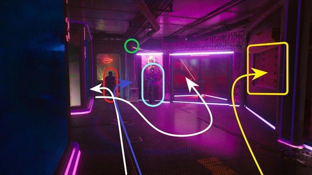 Es gibt insgesamt drei Wege, wie ihr den VIP-Bereich erreichen könnt. Wir haben sie für euch farblich markiert.