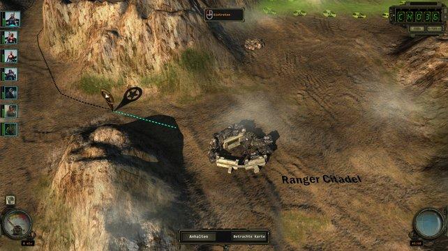 Den Ranger-Trupp zieht ihr über eine mäßig ansehnliche Karte des Ödlands. Dabei solltet ihr auf Wasservorräte und Radioaktivität achten.