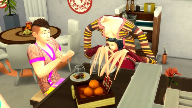 Bei diesem Bug muss selbst der Sims-4-Charakter vor Schreck die Arme hochreißen. Bildquelle: Reddit/scocopat, EA.