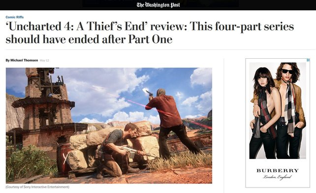Der Beginn des provokanten Tests von Uncharted 4 in der Washington Post.