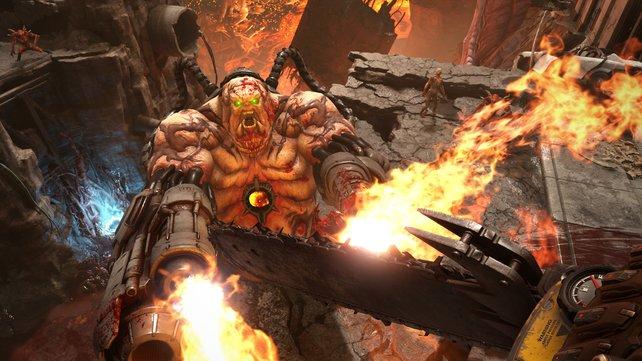 Kettensägen und Dämonen - in Doom: Eternal bekommt die Dämonenbrut ordentlich auf die Fresse.