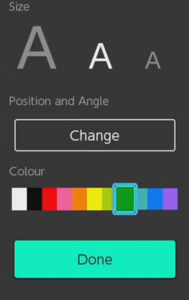 Fügt eurem Screenshot auf der Nintendo Switch einen Text hinzu und bearbeitet diesen farblich.