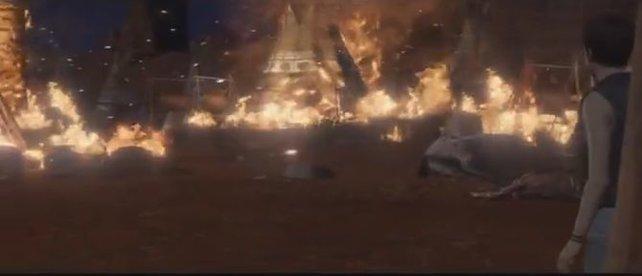 Das Indianerdorf in Flammen