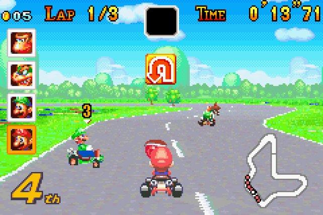 Mario Kart: Super Circuit sieht ein bisschen so aus wie ein abgespeckte Version des ersten Kartrennens.