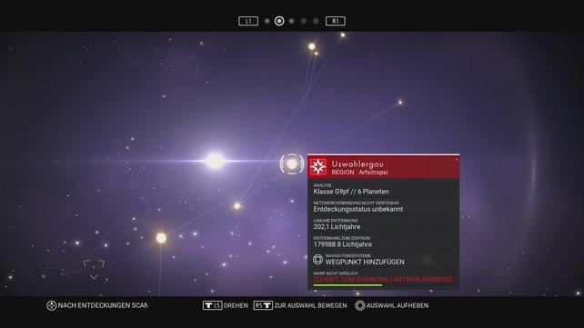 Auf der Sternenkarte plant ihr die weiteren interstellaren Reiseziele.