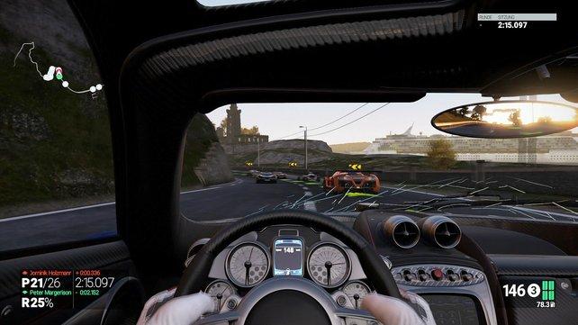 Es gibt drei verschiedene Cockpit-Perspektiven, aber nur eine Verfolgersicht.
