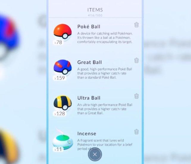 Pokémon GO: Im Inventar werden euch alle verfügbaren Pokébälle angezeigt.
