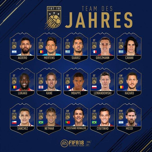 Die Auswahl der Stürmer für das Team of the Year 2018.