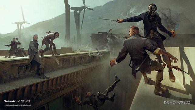 In Dishonored tragen die Charaktere praktische Mode.