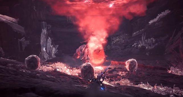 Stellt sich der Behemoth auf die Hinterbeine, kracht kurz darauf ein Meteor auf den Boden. Geht ihr nicht in Deckung, ist der Kampf so gut wie verloren...