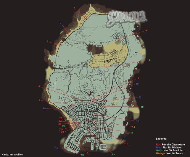 Die Fundorte der Immobilen. Zum Vergrößern bitte auf die Map klicken.