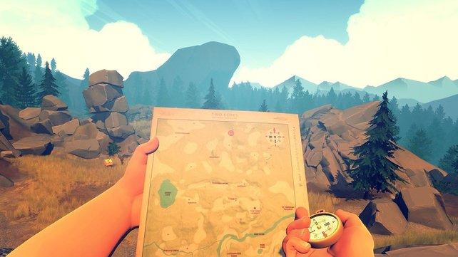 Ohne die Karte, könnt ihr euch in Firewatch schnell verlaufen.