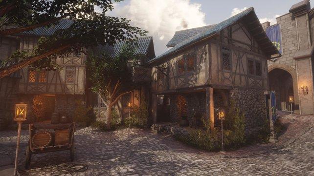 Das Händlerviertel von Sturmwind sieht im Unreal-Engine-Nachbau beeindruckend realistisch aus.
