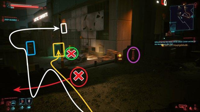 Folgt dem weißen oder gelben Pfad, um ins Lagerhaus zu gelangen und schaltet unterwegs die Gegner rot und grün aus.