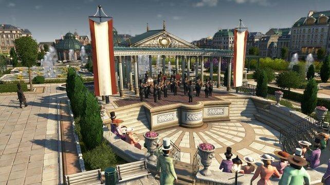 Der Musikpavillon kann auch ein Teil eures Zoos werden und sorgt für zusätzliche Attraktivität eurer Stadt.