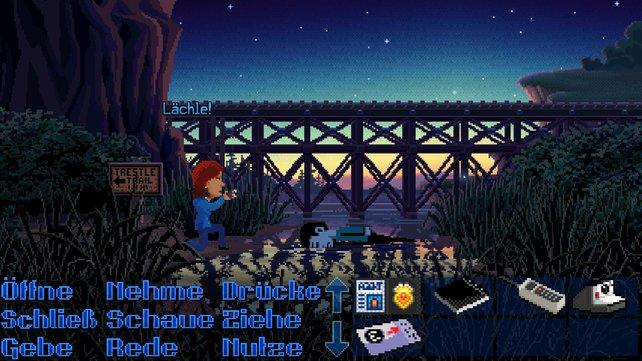 Wie im Klassiker Maniac Mansion interagiert ihr mittels einer Verbenleiste mit der Spielwelt.