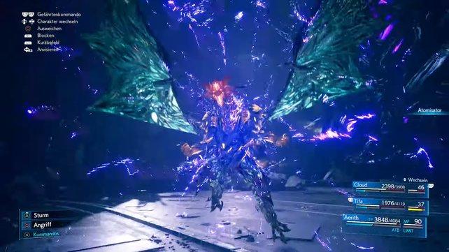 """Die drei bunten Moiren verschmelzen und vereinen sich, um eines der Maskottchen der """"Final Fantasy""""-Reihe zu erschaffen - Bahamut."""