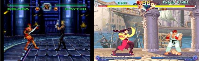 Links: Der 3D-Prügler Criticom, damals für Playstation und Saturn erschienen. Rechts: Das 2D-Kampfspiel Street Fighter Alpha 2. Wer hat sich da besser gehalten?