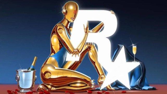 Die androide Oscarina klammert sich lasziv an das Rockstar-R.