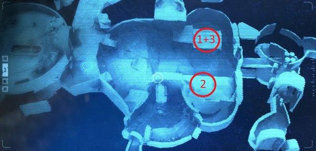 Die erste Vertiefung für die Kugeln befindet sich direkt unter der dritten. Nummer 2 ist auf einer Ebene gegenüber zu finden.