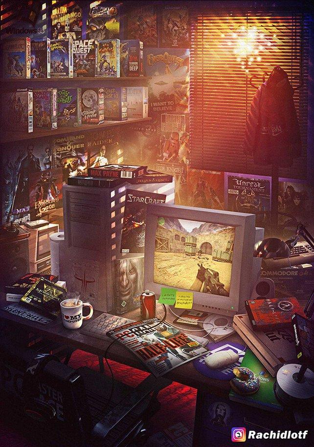 Nostalgie pur: Ein PC-Zimmer aus der Vergangenheit. Quelle: Rachid Lotf, ArtStation