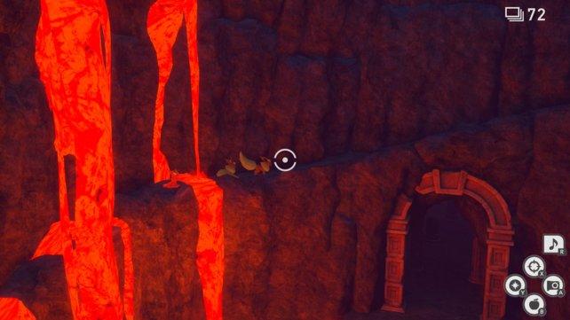 Zwei Flamaras im Vulkan von New Pokémon Snap.