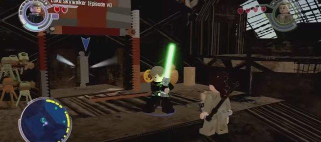 Das Carbonit, in dem Anakin Skywalker steckt, befindet sich hinter einer Wand, die ihr mithilfe der Winde öffnen müsst.