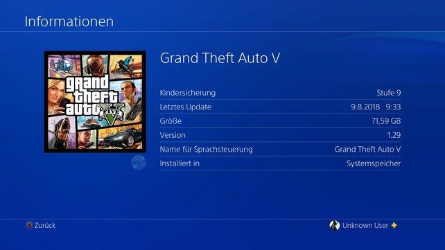 Wählt die Kachel des Spiels aus und drückt die Options-Taste, um weitere Informationen zum Spiel zu erhalten. Auch laufende Downloads werden hier angezeigt.