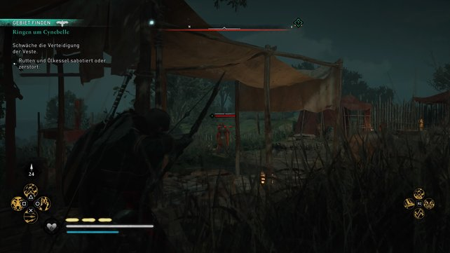 Erledigt einzeln die Wachen im vorgelagerten Camp und nähert euch dann der Veste von Norden. Über einen Baum kommt ihr ins Innere.
