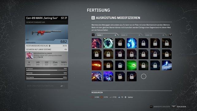Praktisch: Mods aus eurer Sammlung könnt ihr an alle Waffen oder Rüstungen montieren.