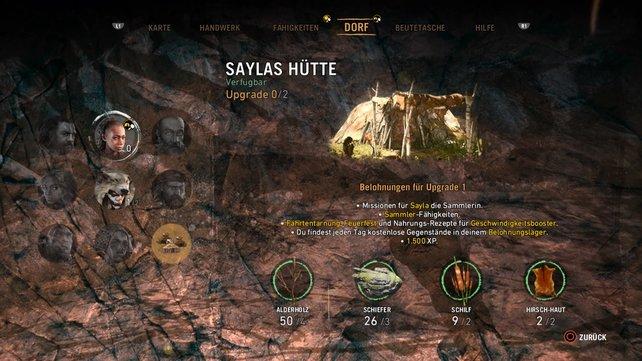 Ihr müsst Saylas Hütte gleich zwei Mal verbessern, um seltene Rohstoffe zu erhalten.