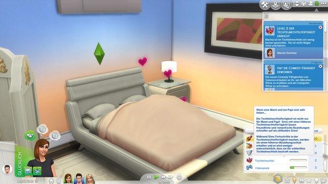 An jedem Techtelmechtelort könnt ihr eure Fähigkeit ausbauen, sei es Bett, Rakete oder Sauna.