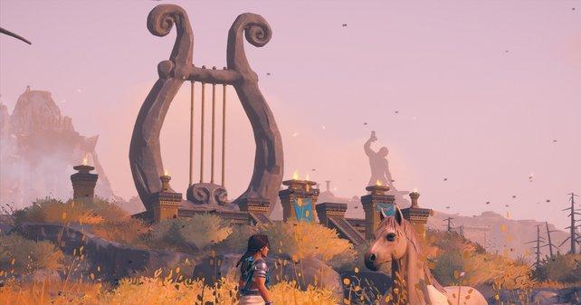 Eine große Lyra befindet sich in jedem Gebiet der Goldinsel!