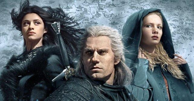 "Der ""The Witcher""-Cast (v. l. n. r.): Anya Chalotra, Henry Cavill, Freya Allen."